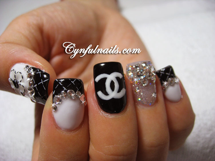 Chanel Nail Tips http://www.cynfulnails.com/2011/05/chanel-design-nails.html