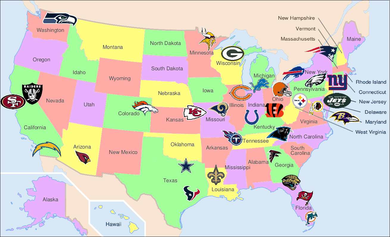 The Tailgate Knight April - Us map nfl teams