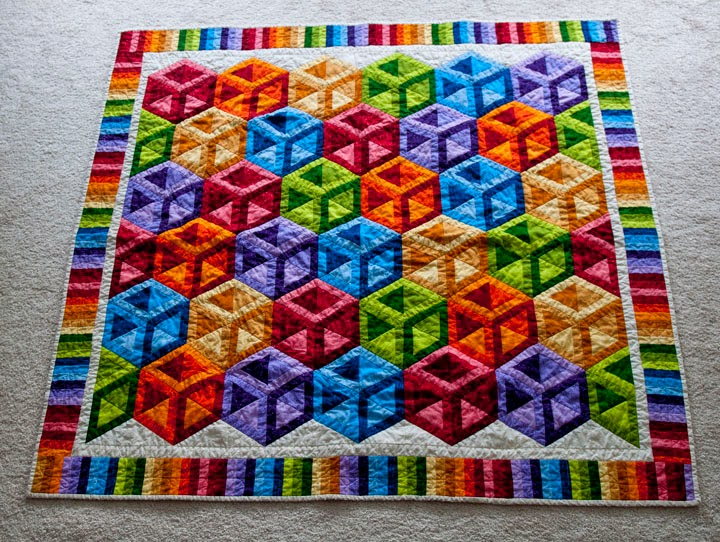 Time To Create Colorful Cubes Quilt