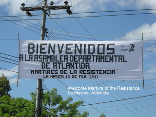 Resistance (FNRP) sign in Masica, Honduras