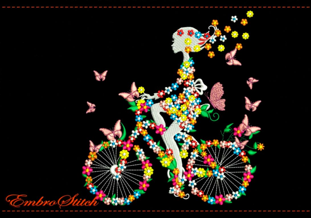 Girl on Bike in Flowers and Butterflies embroidery design   2
