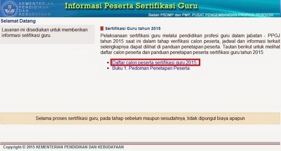 INFORMASI DAFTAR NAMA PESERTA SERTIFIKASI GURU 2015