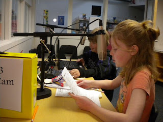 students making a podcast