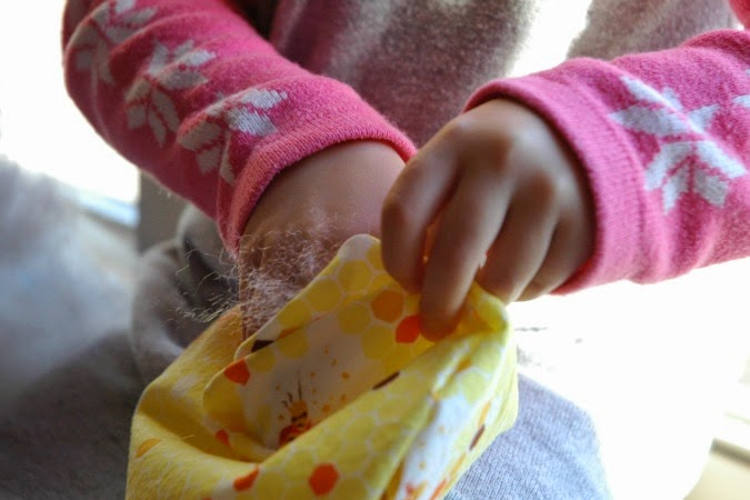 sunny sewing project child stuffing