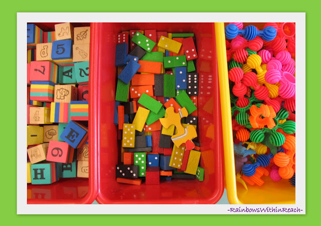 photo of: Fine Motor Manipulative Materials -- Organized in Bins