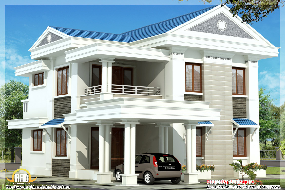 Beautiful blue roof home design 1570 sq ft kerala for New latest house design