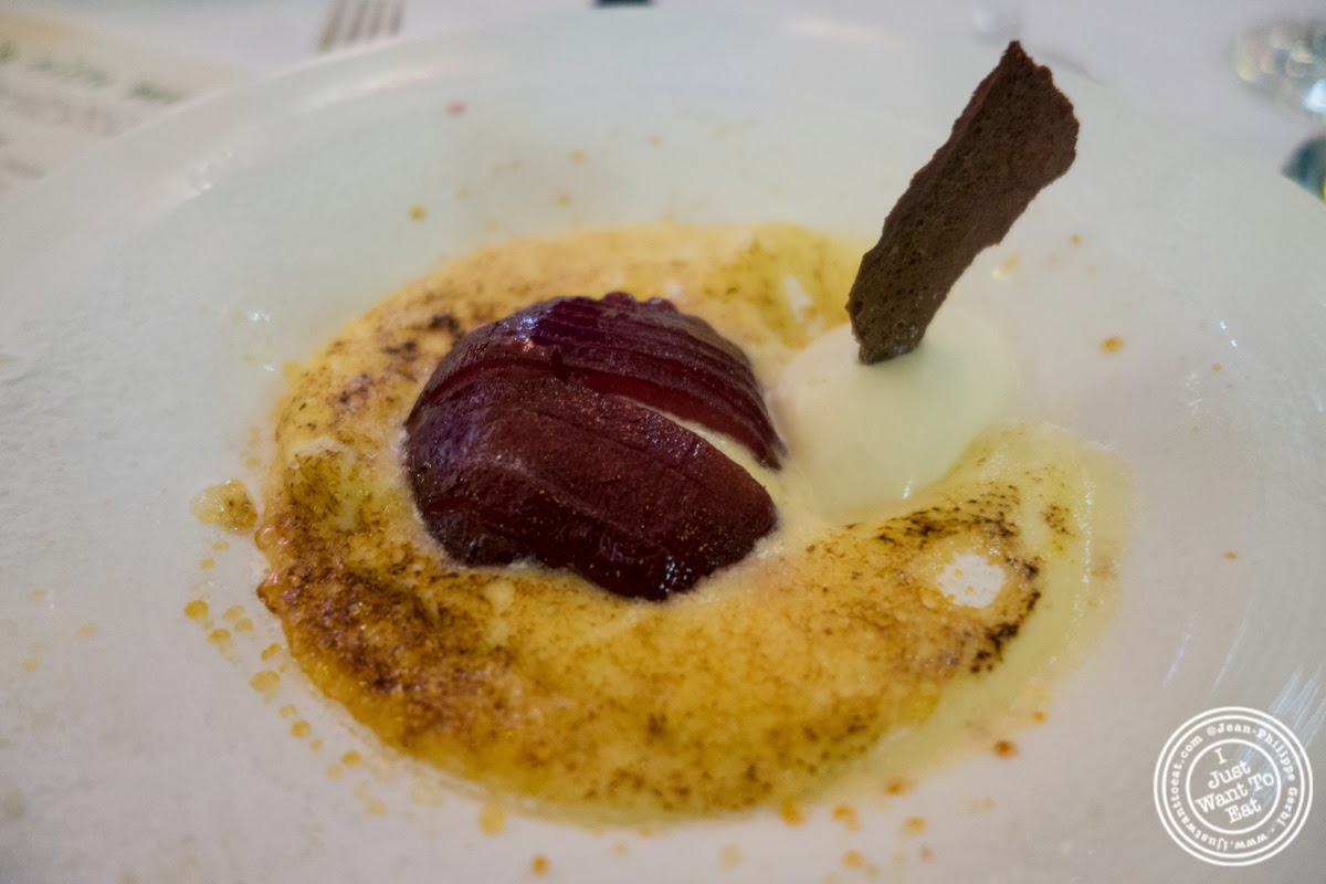 image of red wine pear dessert at Circo in NYC, New York