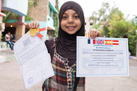 On the last day the best three students from each class were awarded a certificate while teaching english abroad in Morocco.