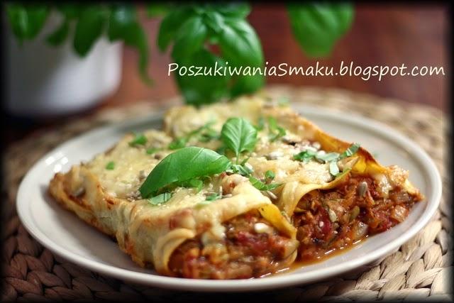 Lasagne inaczej, makaronowe roladki z pomidorami i cukinią