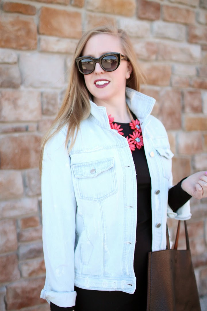 tinsel destroyed denim jacket, leith midi black dress, nordstrom savvy, nordstrom reversible vegan tote, lord and taylor cara flower necklace, j.crew 620 new balance gold sneakers, boston blogger, boston fashion blogger, fashion blogger in boston,