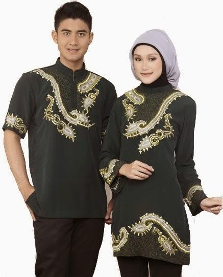 gambar baju muslim sarimbit warna gelap menawan