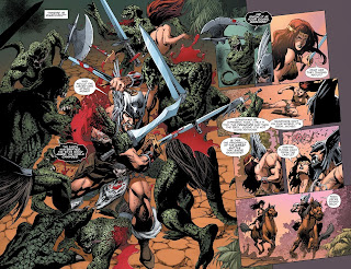 Warlord fighting lizard men in Convergence #4 from DC Comics