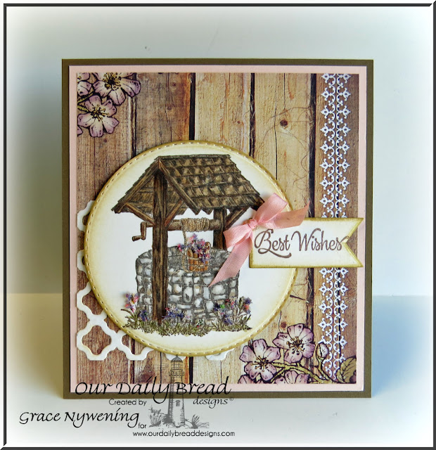 ODBD products: Wishing Well, Double Stitched Circle Dies, BoHo Background Dies, Pennant Dies, designed by Grace Nywening