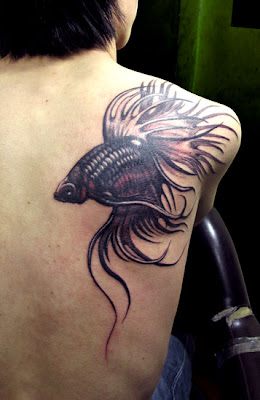 Fighter Fish Tattoo Design for Back