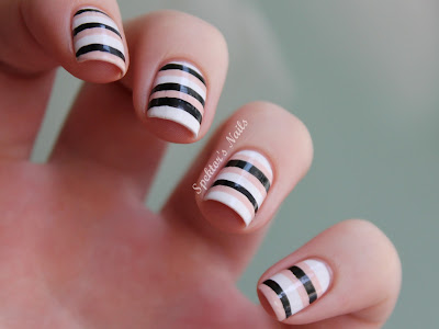 Nude, White & Black Stripes Nail Art