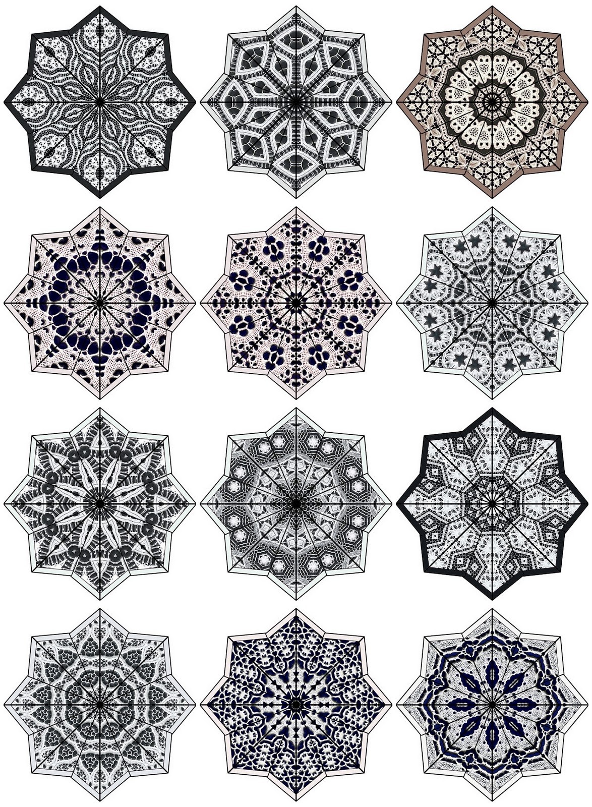 ArtbyJean - Paper Crafts: Digital Collage Sheets - Eight Pointed ...