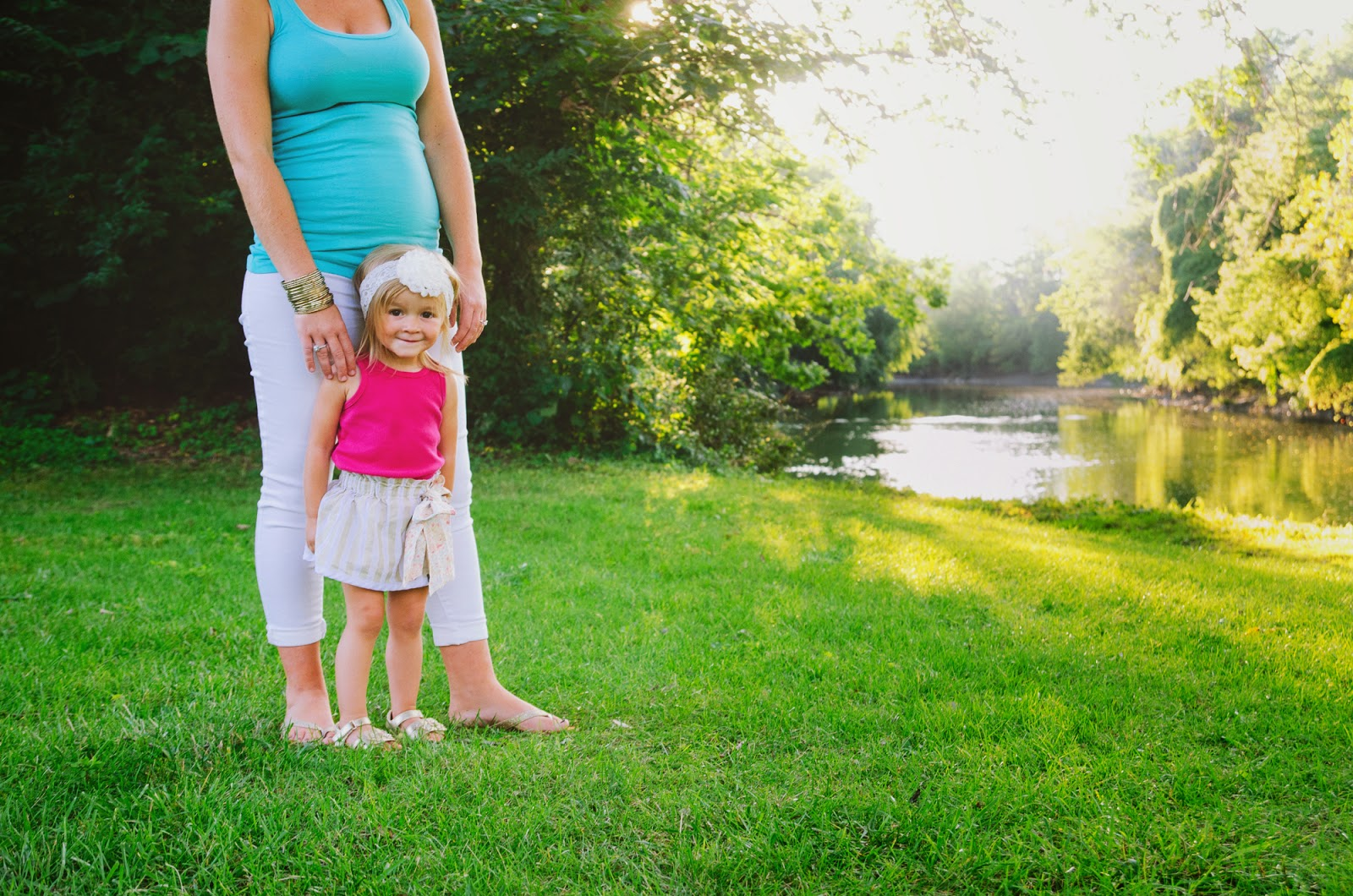 stylish mom and toddler in blue and pink at indianapolis photography session