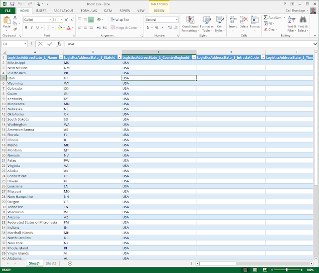 Microsoft Dynamic AX Data in Excel through OData Query