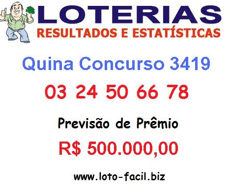 Veja os números da Quina 3419, sorteados na noite desta Segunda-feira, 17 de fevereiro de 2014, na cidade de Orobó