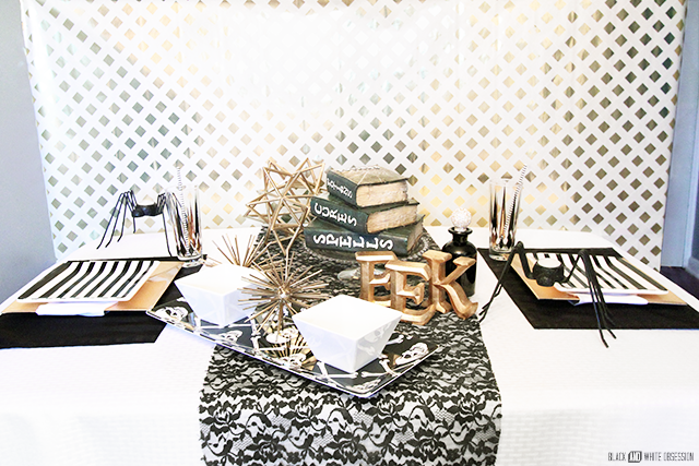 Black and Gold Glam Halloween Tablescape | www.blackandwhiteobsession.com