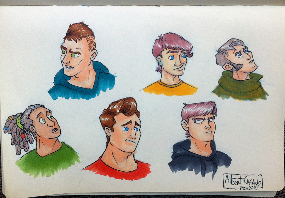 'Male faces' - Copic markers - Albert Casado
