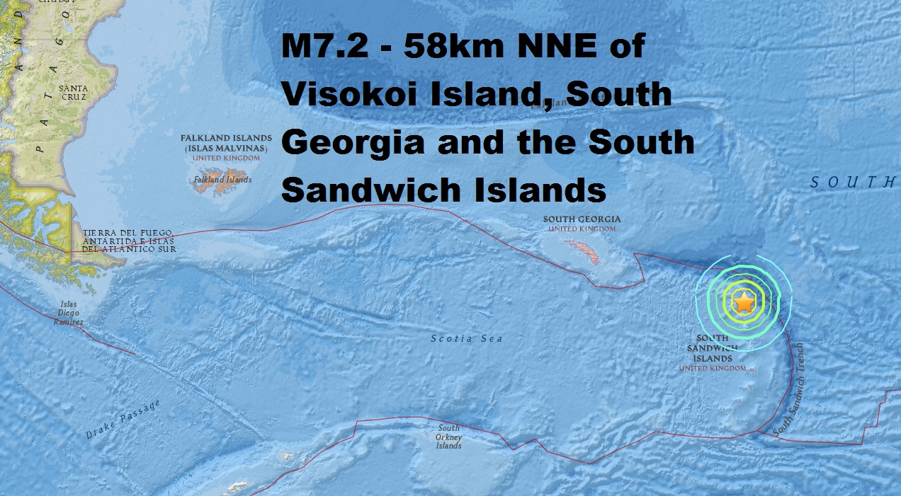 M7.2 - 58km NNE of Visokoi Island, South Georgia and the South Sandwich Islands is the second...