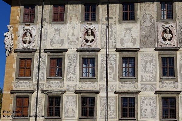 Pisa, Italy, architecture, sgraffiti, sculpture