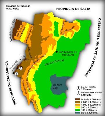 Tucumán Mapa Fisico