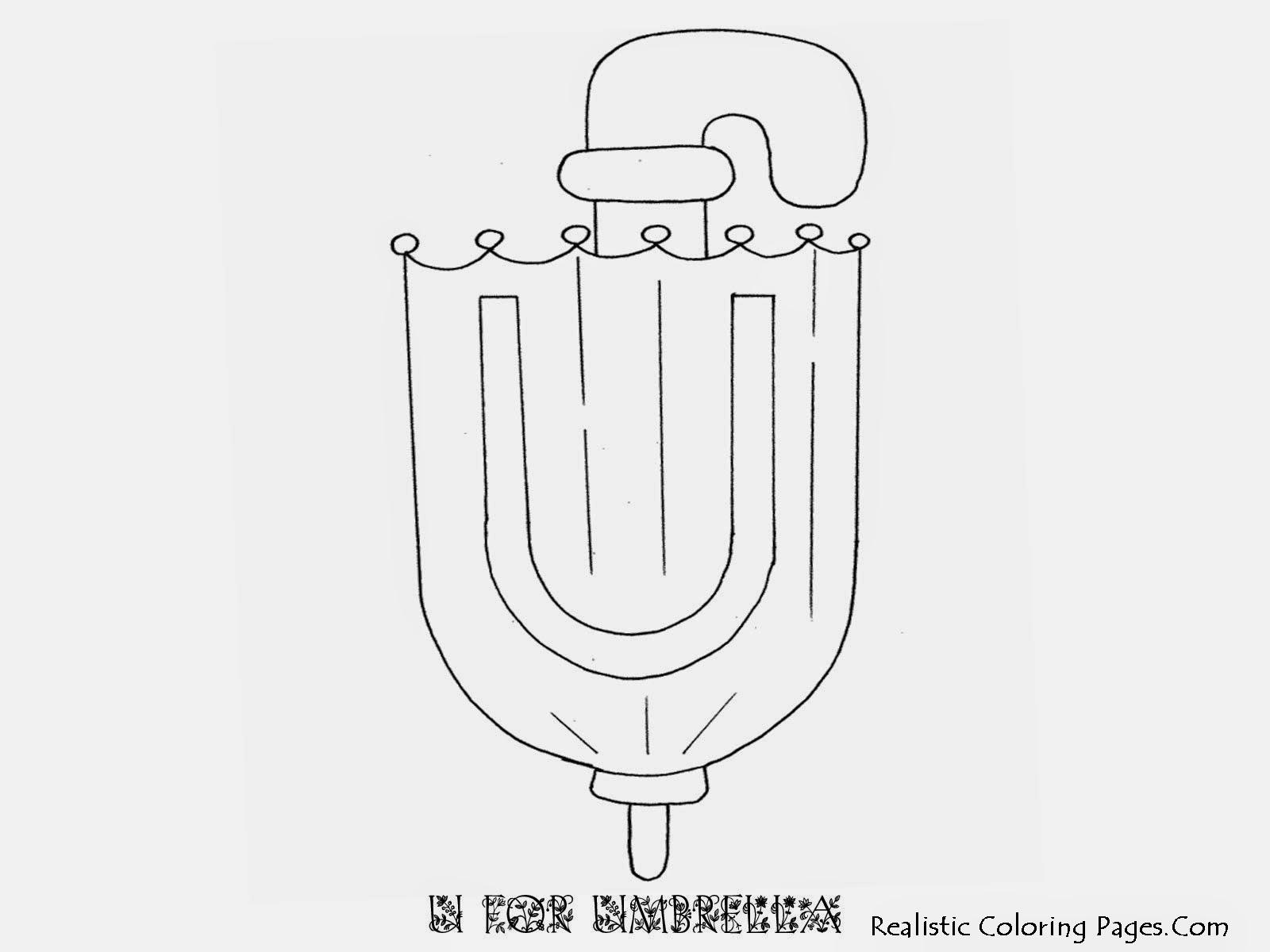 Alphabet Coloring Pages U FOR UMBRELLA