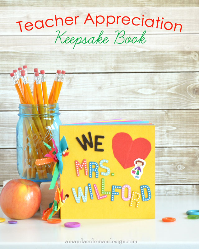 Personalized Teacher Appreciation Keepsake Book