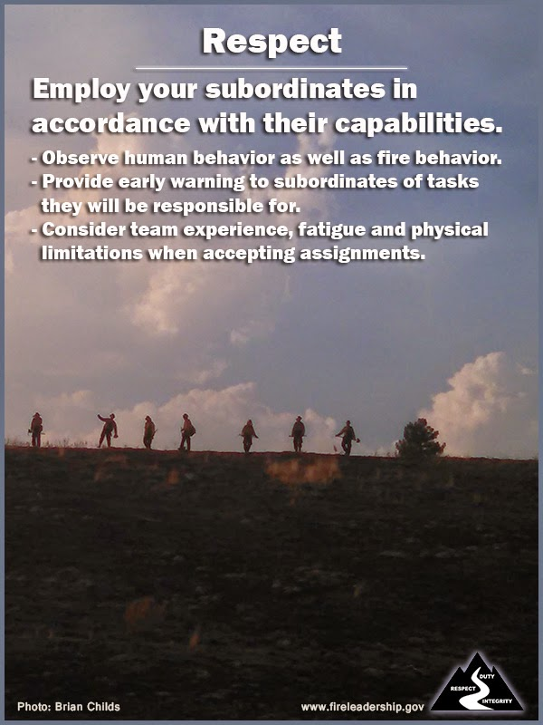 Respect Employ your subordinates in accordance with their capabilities. - Observe human behavior as well as fire behavior. - Provide early warning to subordinates of tasks they will be responsible for. - Consider team experience, fatigue and physical limitations when accepting assignments.