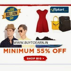 Flipkart: Buy Clothing, Footwears & Accessories minimum 55% off
