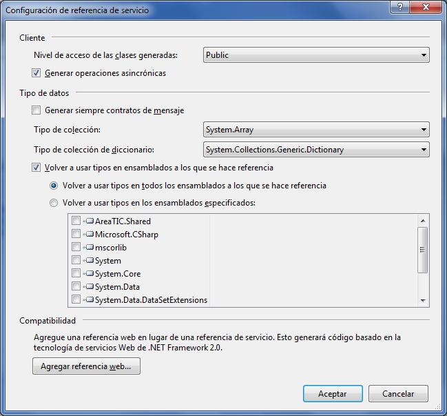 areaTIC: Crear operaciones asíncronas mediante service reference