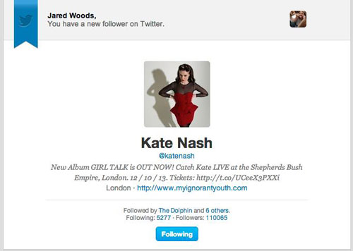 Kate Nash follows me on Twitter