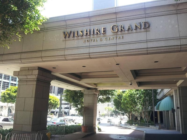 Entrance of Wilshire Grand Hotel Los Angeles before demolition
