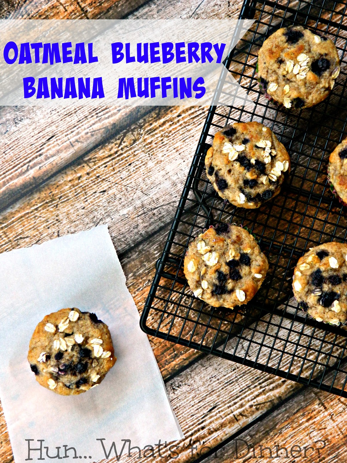 Oatmeal blueberry banana muffins, using raw honey