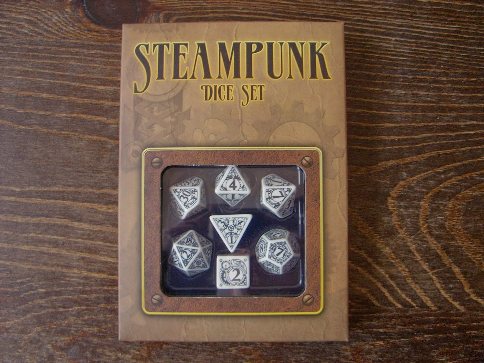 Steampunk dice are my favorite design from Q-workshop. Just look at them,  how can you not like them?