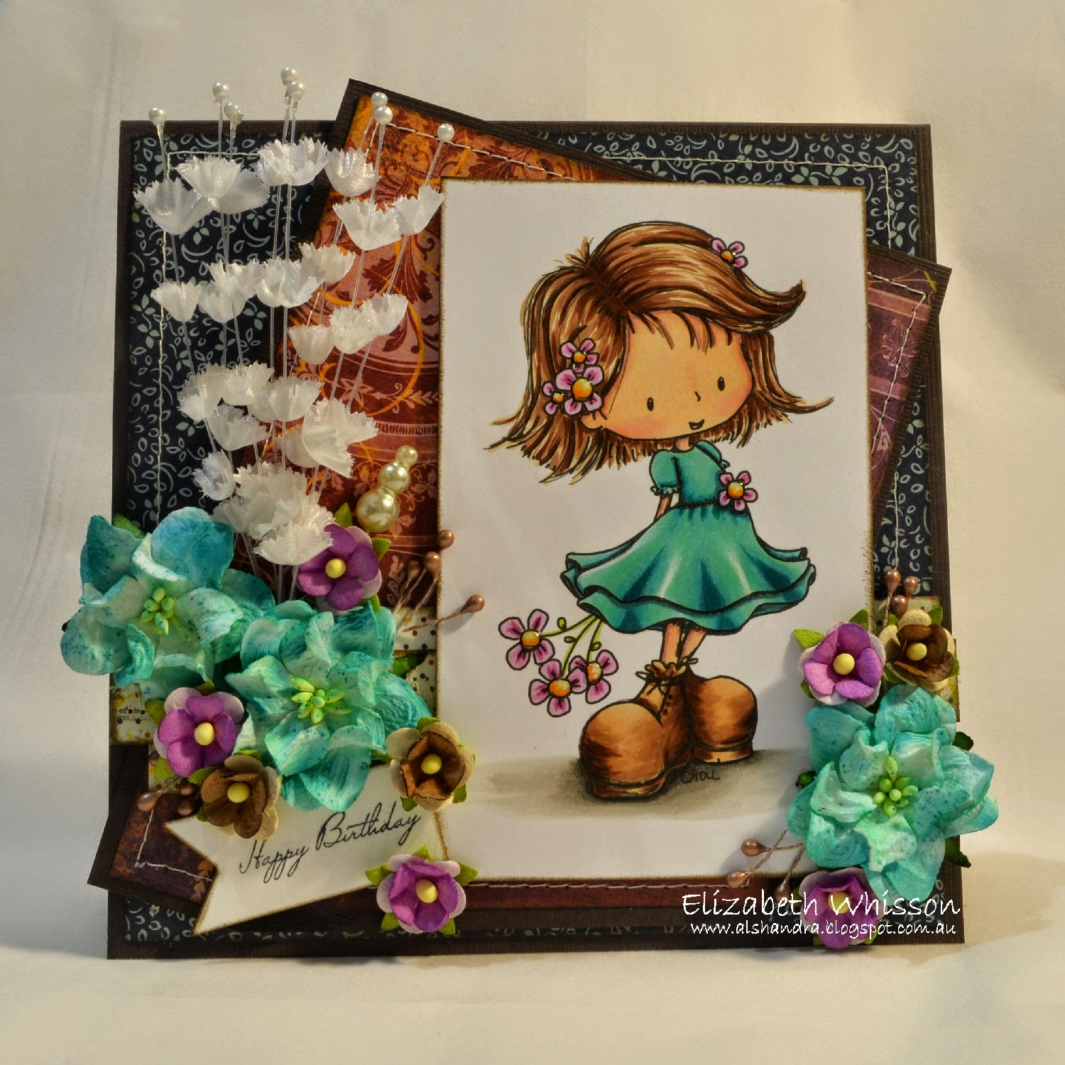 Elizabeth Whisson, handmade card, Tiddly Inks, Celebrate, AnnaBelle Stamps, Squared Posies, ODBD Pennants Dies, Live and Love Crafts, Bo Bunny, Bazzill, Copics, X-Press It blending card, Copic airbrush, ABS-1N, flowers