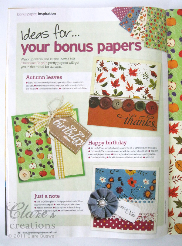 Cardmaking Papercraft Mag Uk Issue 96 Clares Creations