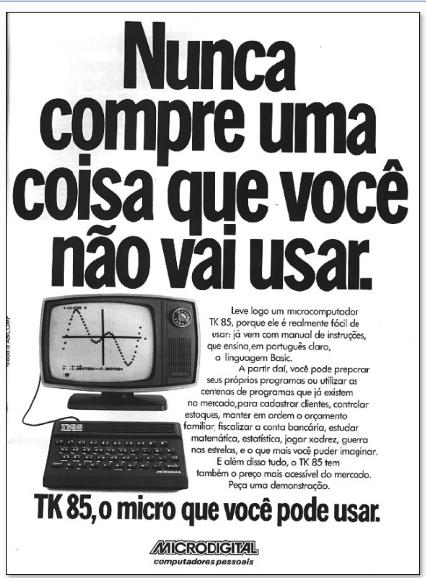 Propaganda do computador TK 85. Primórdio dos computadores domésticos.