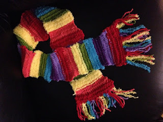 rainbow, yarn, scarf, homemade, knitting, rainbow scarf, striped scarf, rainbow stripes