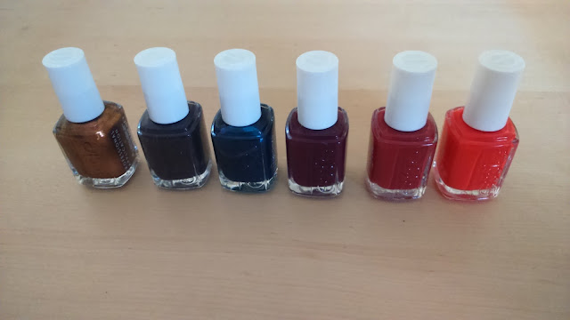 Essie Fall 2015 Collection, L-R:Leggy legend,Froc'n roll,Bell-Bottom Blues,In the lobby,With the band,Color binge