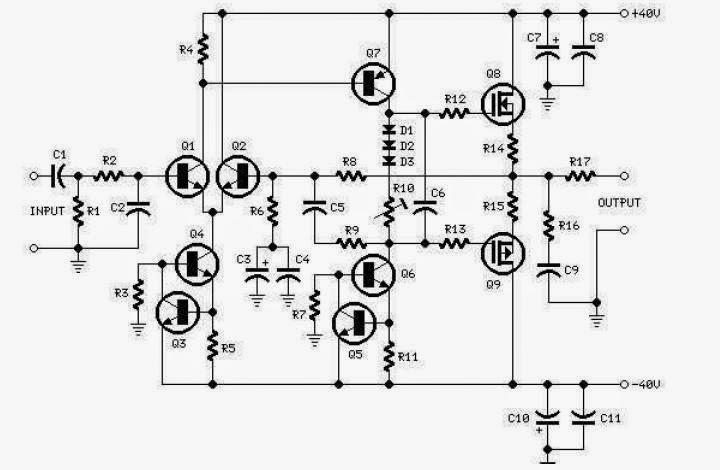 Amplificator audio MOSFET 60W RMS cu distorsiuni minime | Scheme ...