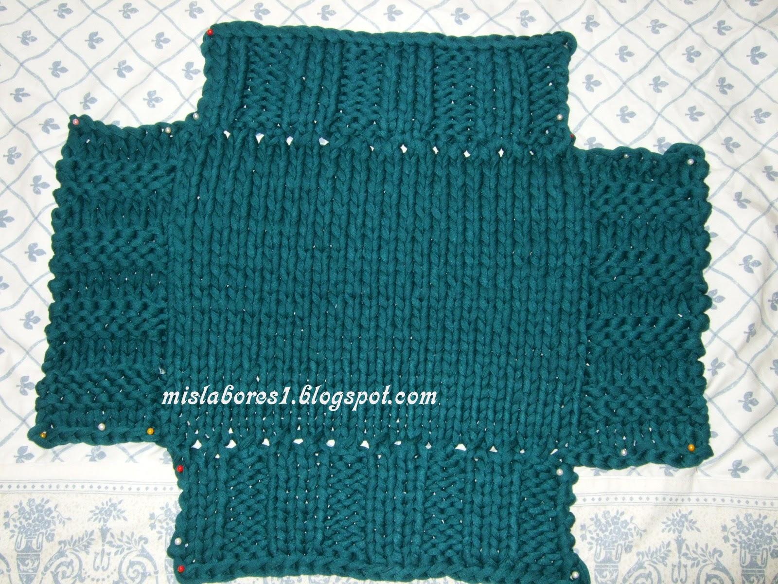 Mis labores cesta de trapillo con dos agujas - Puntos de agujas de lana ...