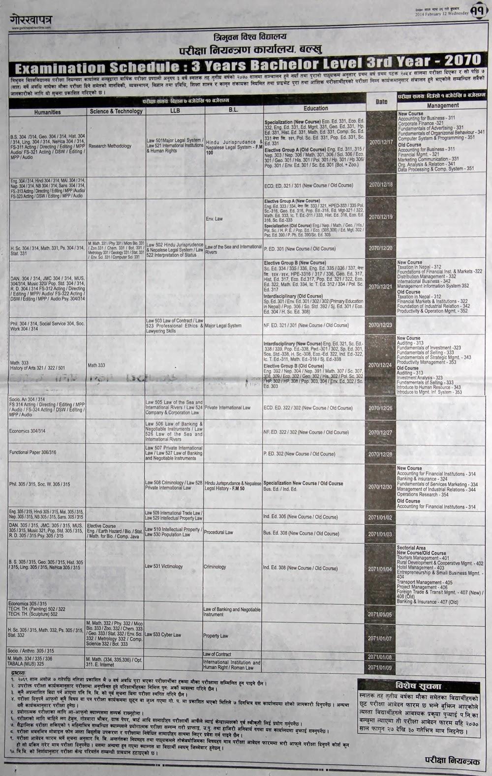 Schedule: 3 years Bachelor Level 3rd Year 2070 Tribhuvan University