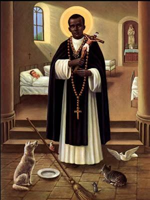 Imagen del Santo. Se ve al fondo un enfermo en cama y a sus pies si escoba, un perro un gato, una paloma y un ratón junto a un plato de comida