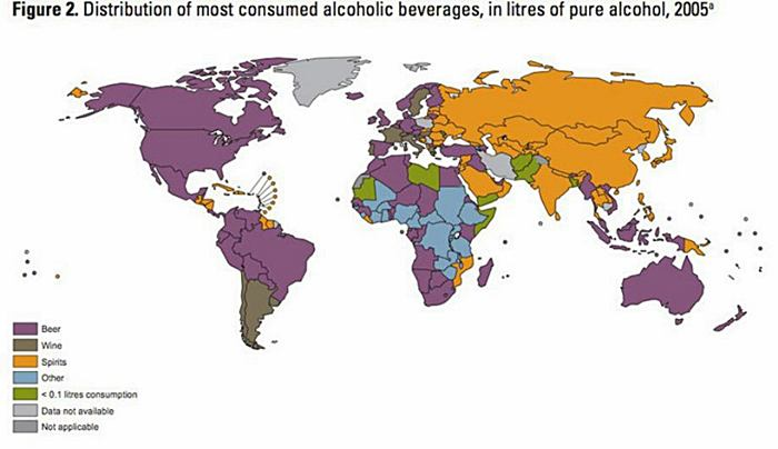 Map of Alcoholic Drink Popularity by Country