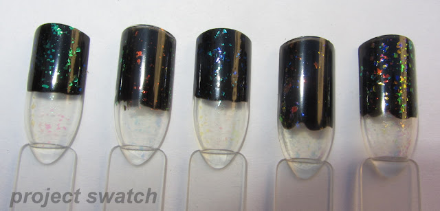 Finger Paints Flakies swatches: Flecked, Flashy, Motley, Asylum, Twisted