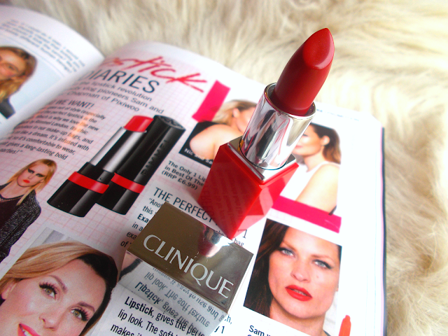 Free Clinique Pop lipstick inside December 2015 issue of Glamour magazine ft. Tanya Burr!