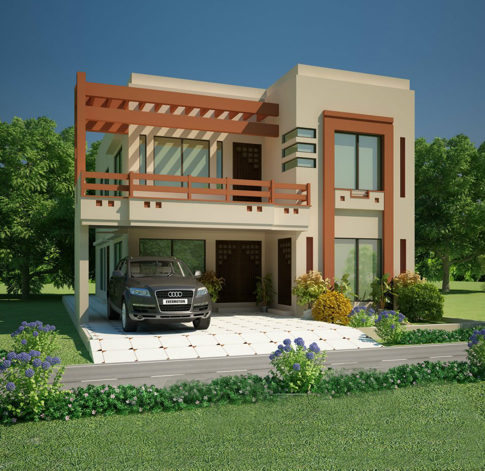 All architectural designing 3d house front elevation for New homes design pakistan
